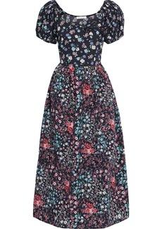 Loveshackfancy Woman Lais Bow-embellished Floral-print Cotton-poplin Midi Dress Midnight Blue