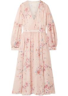 Loveshackfancy Woman Leah Wrap-effect Floral-print Silk-georgette Midi Dress Blush