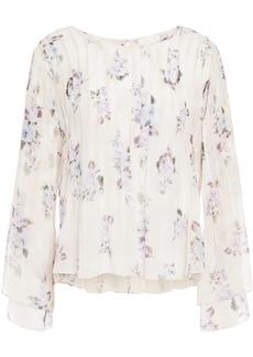 Loveshackfancy Woman Paulette Pintucked Floral-print Silk-georgette Blouse Off-white