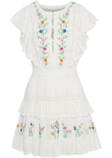 Loveshackfancy Woman Romy Tiered Embroidered Cotton-jacquard Mini Dress White
