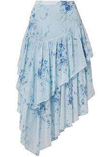 Loveshackfancy Woman Rowan Asymmetric Tiered Floral-print Silk-georgette Skirt Light Blue