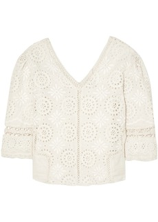 Loveshackfancy Woman Solstice Crochet-trimmed Broderie Anglaise Cotton Top Ivory