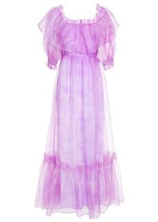 Loveshackfancy Woman Tara Ruffled Silk-organza Maxi Dress Violet