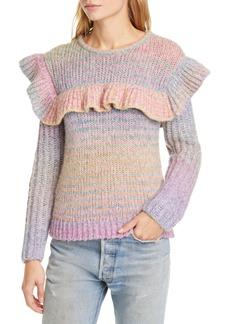 LoveShackFancy Yumi Ruffle Detail Alpaca & Merino Wool Blend Sweater