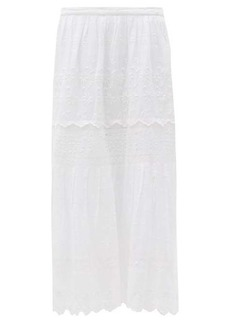 LoveShackFancy Zinnia cotton broderie anglaise midi skirt