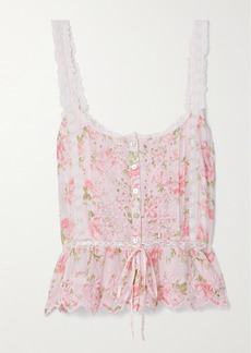 LoveShackFancy Luanne Crochet-trimmed Floral-print Broderie Anglaise Cotton-voile Top