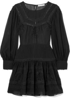 LoveShackFancy Mallory Lace-trimmed Silk-chiffon Mini Dress