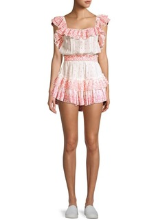 LoveShackFancy Marina Floral Polka Dot Plisse Ruffle Mini A-Line Dress