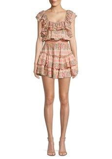 LoveShackFancy Marina Floral Squareneck Dress