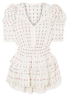LoveShackFancy Marissa Crochet-paneled Embroidered Cotton-voile Mini Dress