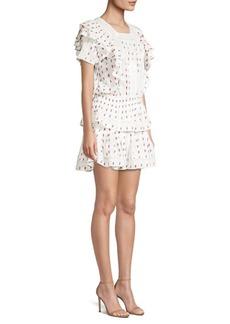 LoveShackFancy Marissa Floral Tiered Ruffle Eyelet A-Line Dress