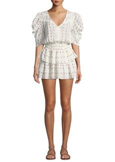 LoveShackFancy Marissa Puff-Sleeve Floral Flounce Mini Dress
