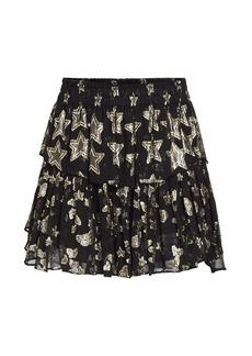 LoveShackFancy Metallic Star Ruffle Mini Skirt