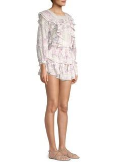 LoveShackFancy Minetta Floral Silk Ruffle Dress