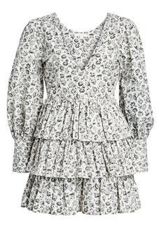 LoveShackFancy Paris Dandelion-Print Puff-Sleeve Mini A-Line Dress