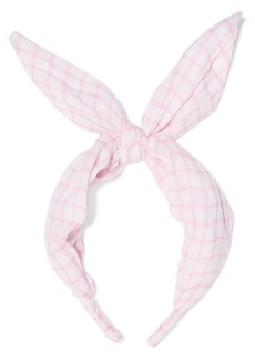 LoveShackFancy Pauline Checked Cotton-voile Headband