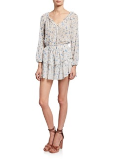LoveShackFancy Popover Long-Sleeve Tiered Mini Dress