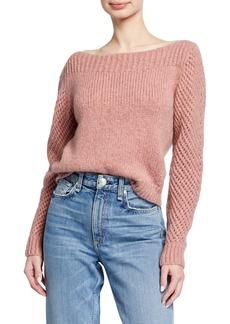 LoveShackFancy Rosie Boat-Neck Alpaca Sweater