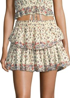 LoveShackFancy Ruffle Floral Mini Skirt