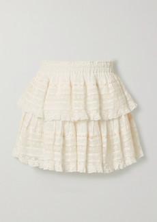 LoveShackFancy Ruffled Crochet-trimmed Swiss-dot Cotton-voile Mini Skirt