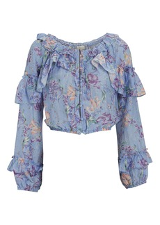 LoveShackFancy Ruffled Floral Silk-Cotton Blouse