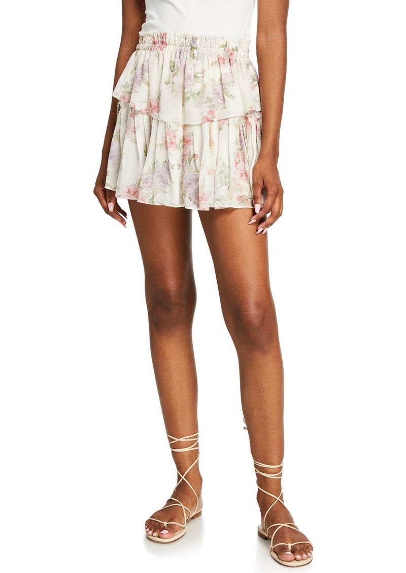 LoveShackFancy Ruffled-Tiered Mini Skirt