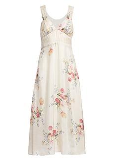 LoveShackFancy Sabina Floral Silk Slip Dress