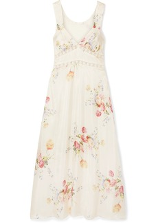 LoveShackFancy Sabina Lace-trimmed Floral-print Silk-satin Midi Dress