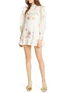 LoveShackFancy Saffron Floral Long Sleeve Silk Minidress