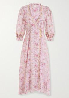 LoveShackFancy Sarabeth Rickrack And Lace-trimmed Floral-print Cotton Midi Dress