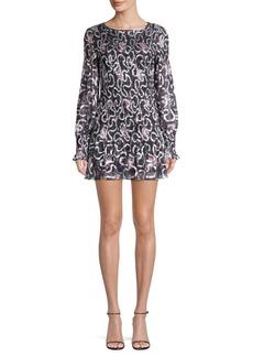 LoveShackFancy Scarlett Chiffon Geometric Mini Dress