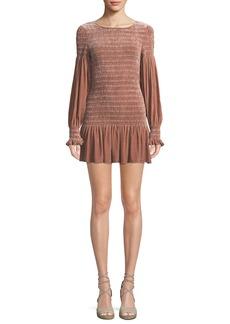 LoveShackFancy Scarlett Smocked Velvet Flounce Short Dress