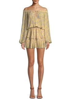 LoveShackFancy Short Off-the-Shoulder Floral-Print Silk Dress
