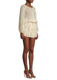 LoveShackFancy Silk Floral Popover Mini Dress