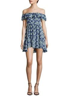 LoveShackFancy Silk Printed Off-The-Shoulder Dress