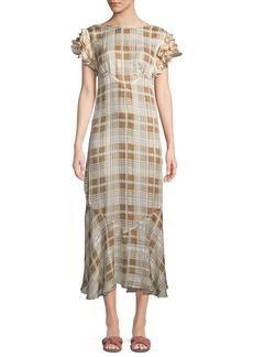 LoveShackFancy Sloane Ruffle Check Short-Sleeve Dress