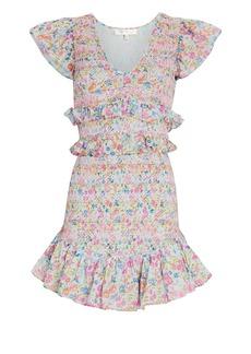 LoveShackFancy Sonora Smocked Floral Mini Dress