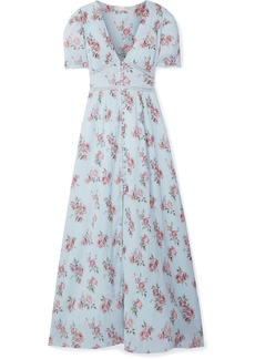 LoveShackFancy Stacy Lace-trimmed Floral-print Cotton-crepon Maxi Dress
