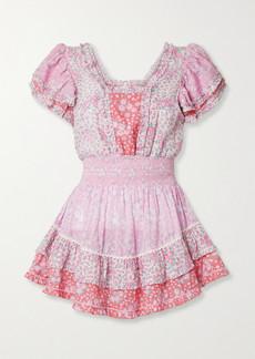 LoveShackFancy Stanton Patchwork Floral-print Swiss-dot Cotton Mini Dress