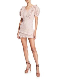 LoveShackFancy Sutton Puff-Sleeve Ruffle Mini Dress