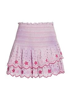 LoveShackFancy Tala Smocked & Eyelet Mini Skirt