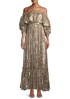LoveShackFancy Tara Lame Ruffle Off-Shoulder Maxi Dress
