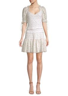 LoveShackFancy Tina Cotton Puff Sleeve Mini Dress