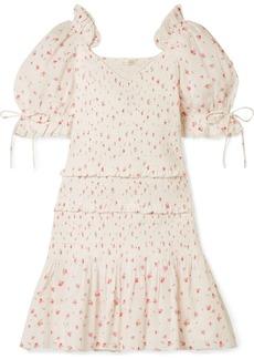 LoveShackFancy Tina Smocked Ruffled Floral-print Cotton Dress