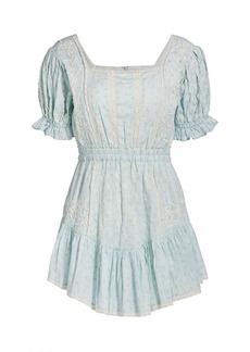 LoveShackFancy Tomasina Puff-Sleeve Peasant Mini Dress