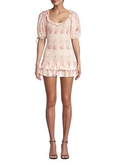 LoveShackFancy Violet Rose-Print Puff-Sleeve Mini Dress