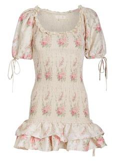 LoveShackFancy Violet Smocked Silk Mini Dress