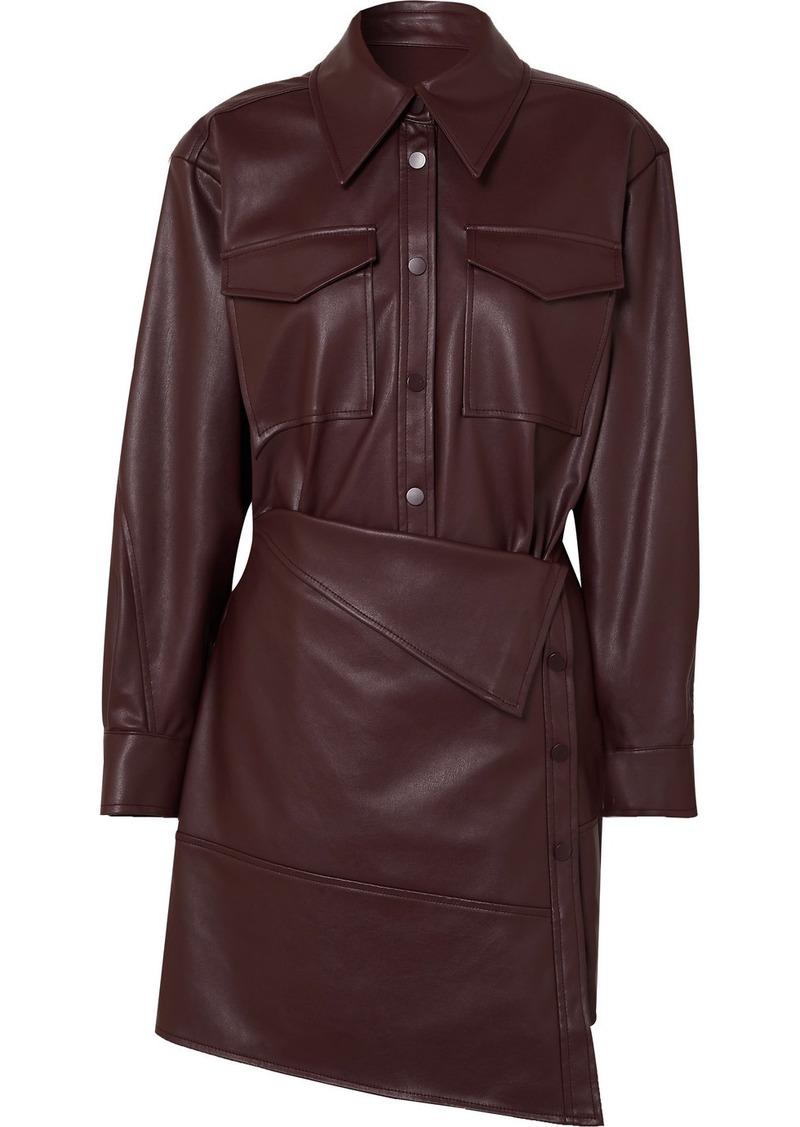 Asymmetric Faux Leather Mini Dress