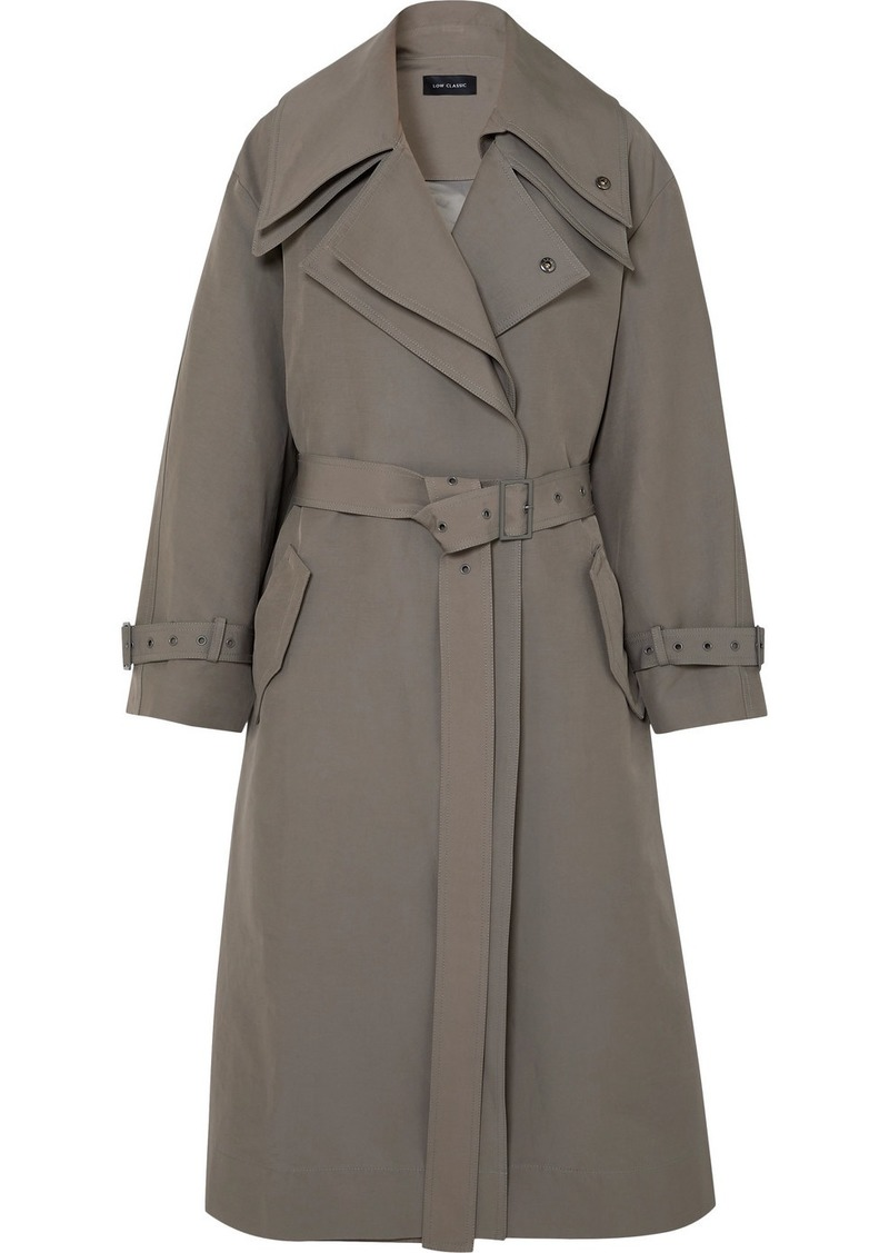 Low Classic Belted Layered Canvas Trench Coat
