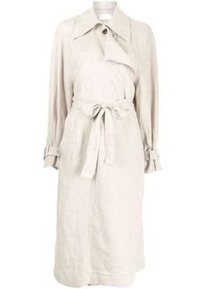 Low Classic draped panel eco linen trench coat